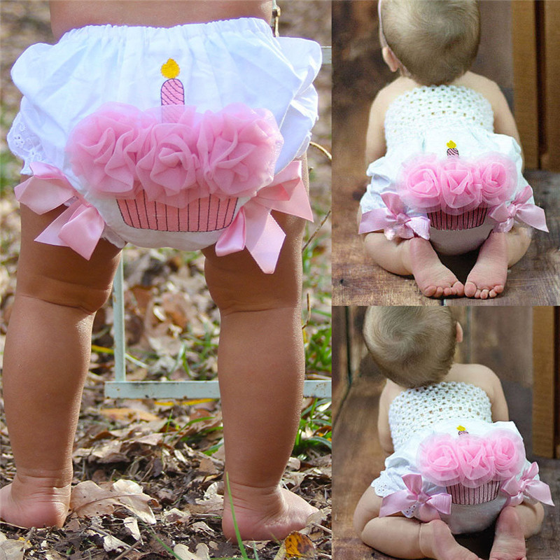 PUDCOCO Infant Baby Girls Ruffle Cupcake Diaper Cover Bloomer   Shorts   Outfits Clothing