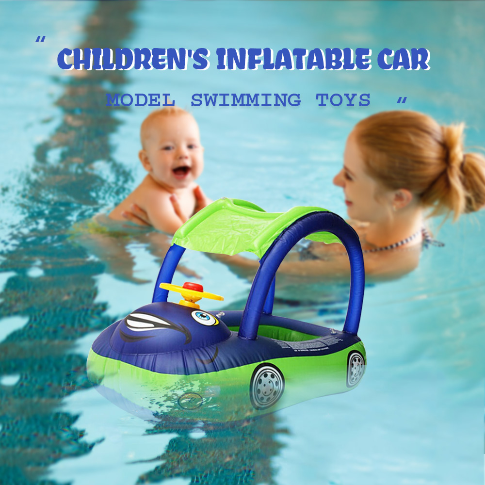 Inflatable Swimming Water Pool Boat Toys Baby Swim Ring Car Boat Sunshade Steering Wheel Safe Holiday Floating Summer Kids Seat