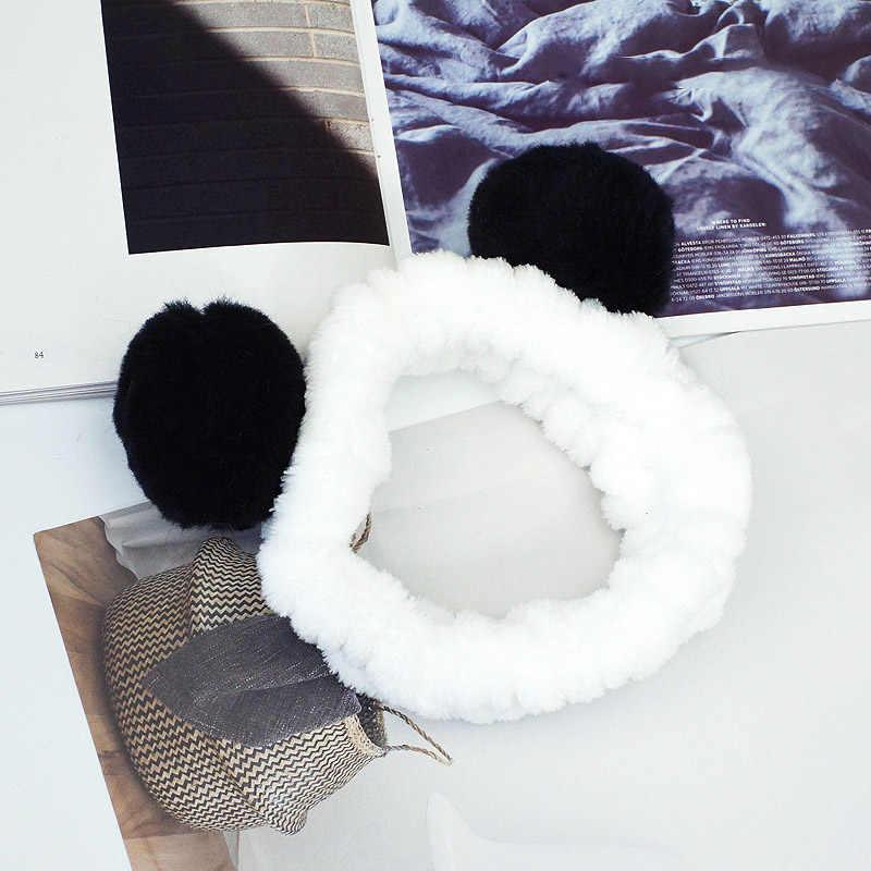 Повязка на голову с милыми ушками панды, мягкая флисовая женская повязка для душа, повязка для душа, спа-маска, 2019
