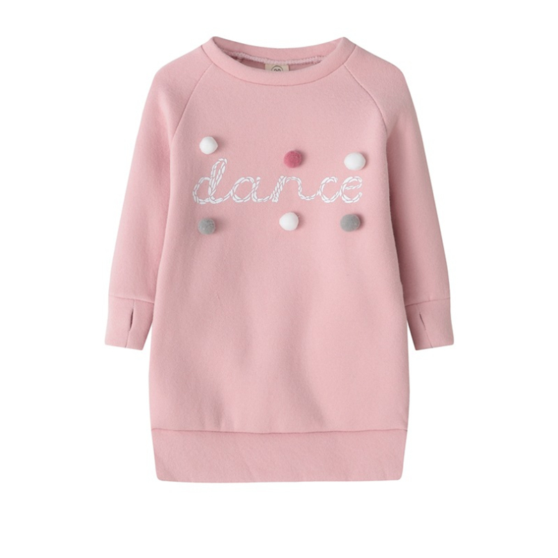3-8Y Child Baby Girls Warm Dress Autumn/Winter Plush Ball Long Sleeve Mini Stright Dresses Girls Party Princess Dress Clothes image