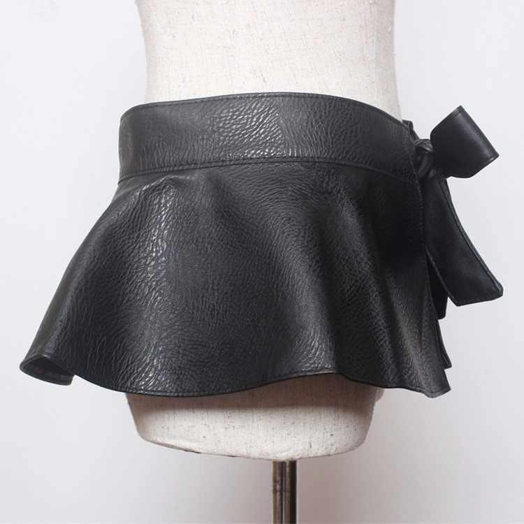 Женский уличный стиль, модный ошейник с бантиком, регулируемый пояс из искусственной кожи, широкий пояс с оборками, Женский черный ремень из искусственной кожи с баской