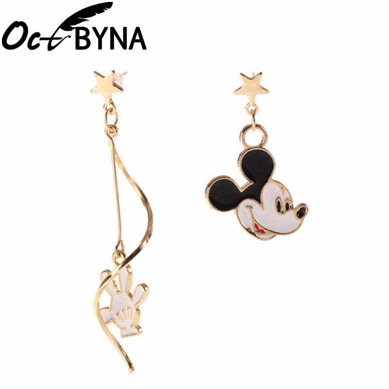 Octbyna Cartoon Anime Style Mickey Minnie Gold Color Brand Earring For Women&Girls Stud Earrings Jewelry Dropshipping