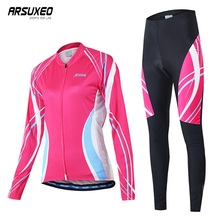 ARSUXEO Cycling Clothing Woman Set Quick Drying Sport Bicycle Clothes Breathable Long Sleeves Jersey Sets