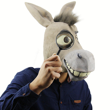 купить Funny Donkey Mask Costume Cosplay Movie Shrek Character Donkey Mask Halloween Costume For Adult Props дешево