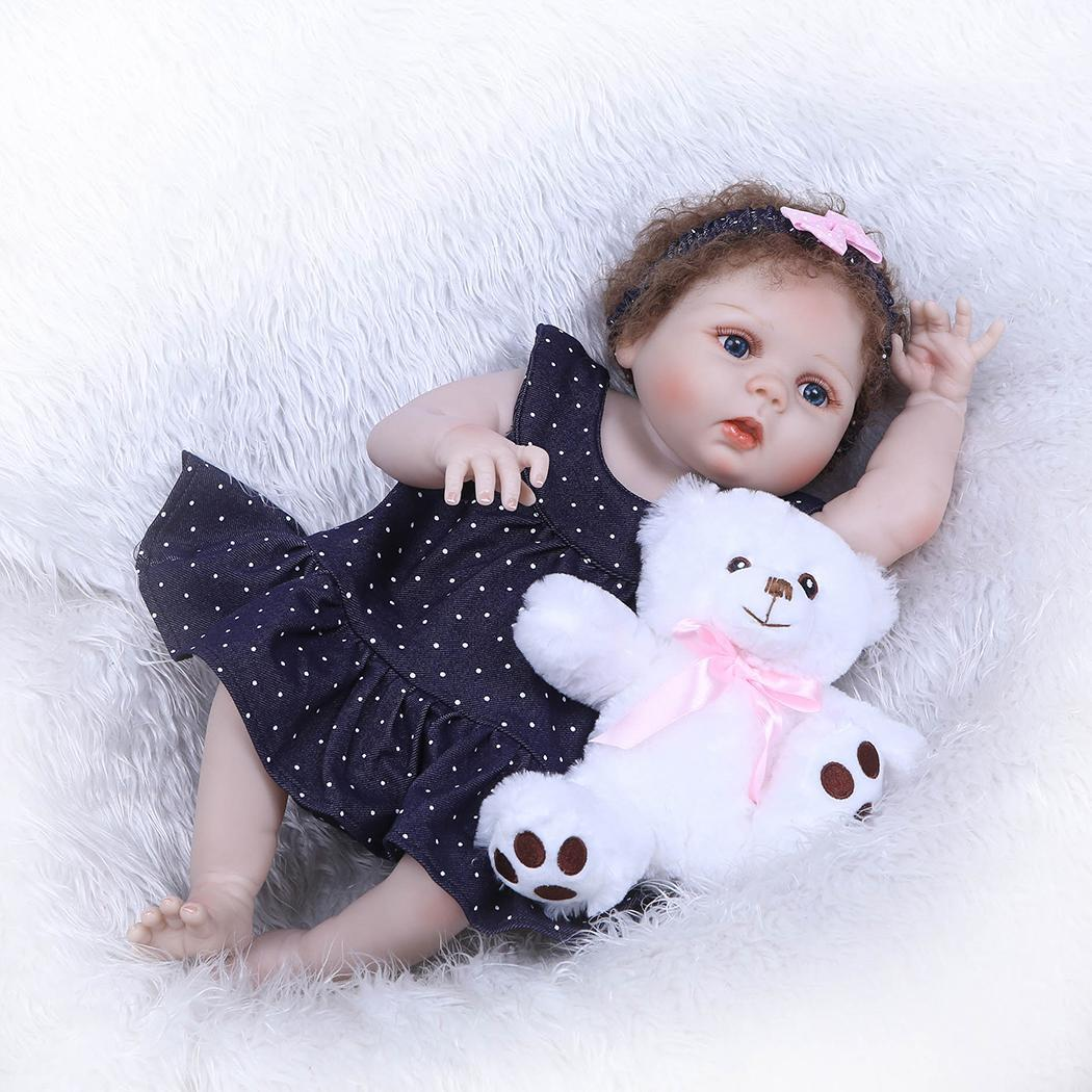 55cm / 21.7inch Reborn Doll 55 cm Soft Vinyl Body Lifelike Baby Reborn Bonecas Children Playing Toy Birthday Xmas Gift55cm / 21.7inch Reborn Doll 55 cm Soft Vinyl Body Lifelike Baby Reborn Bonecas Children Playing Toy Birthday Xmas Gift