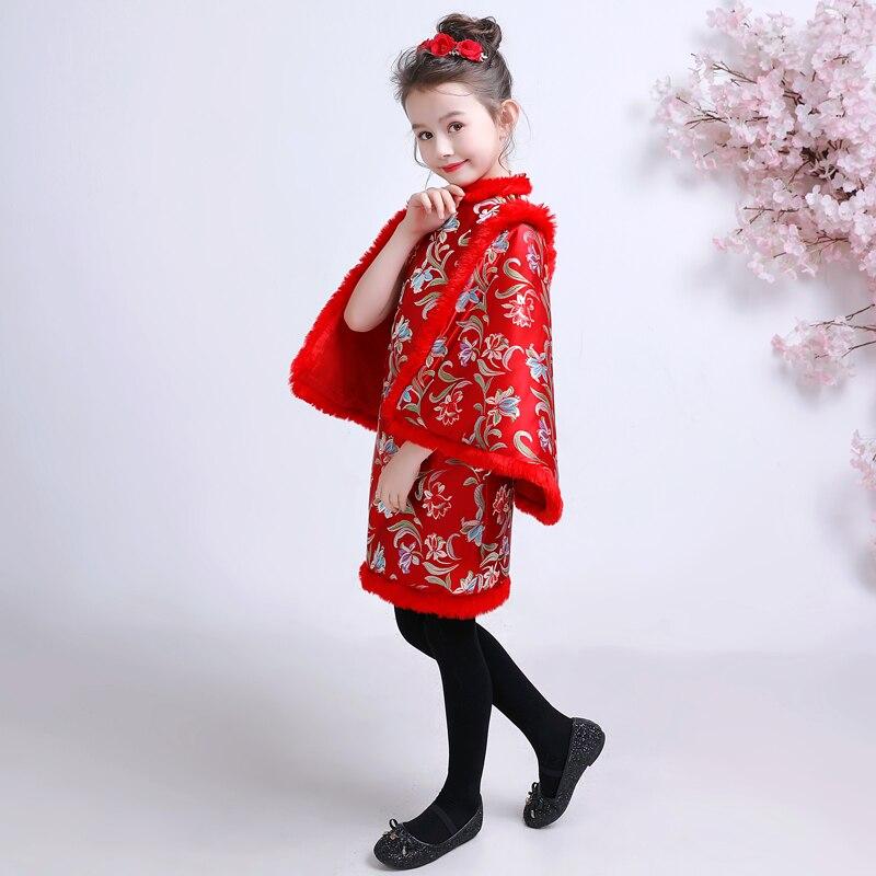 Robe chinoise pour enfants robes filles Cheongsam enfant rouge nouvel an Costume Satin Qipao hiver Tang Costume épaississement Plus velours - 2