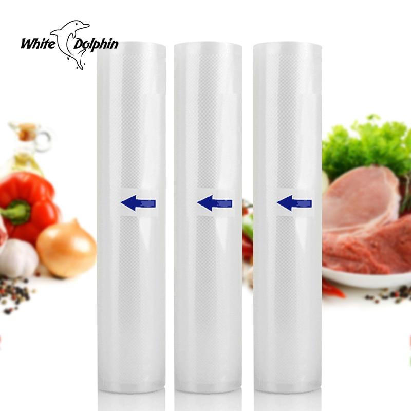 Golfinho branco 3 Rolls Saco De Armazenamento De Alimentos A Vácuo 12 15 20 25X500 CM Kitchen Food Seal Bag Para aferidor Do vácuo Máquina de Embalagem
