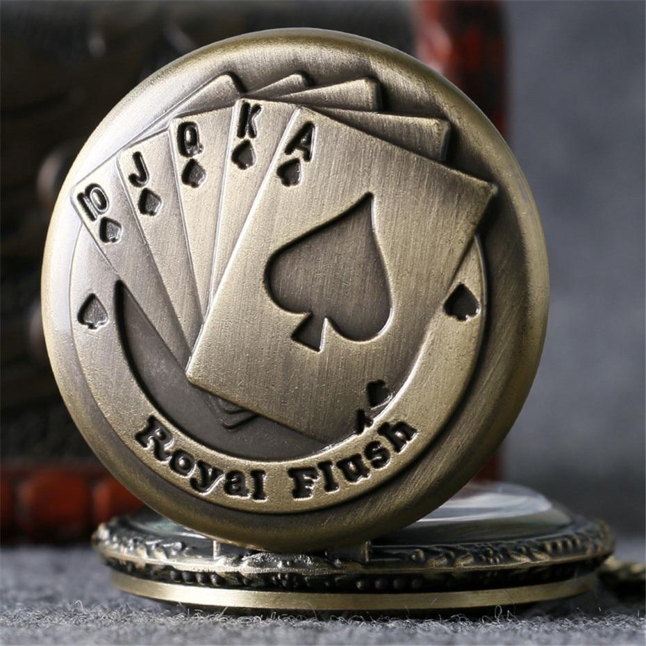 Vintage Bronze Royal Flush Poker Design Quartz Pocket Watch Steampunk Cool Necklace Pendant Clock For Men Women Dropshipping