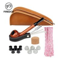 FIREDOG Smoking Pipe Rose Wooden Tobacco Pipes Accessories for Weed Pipe Pouch Stainless Steel Pipe Tamper Holder Cleaner Set