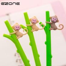 EZONE 1PC Cartoon Monkey Gel Pen For Writing Green Bamboo Shape Pen 0.5mm Black Ink Children Gift Creative School Office Supply deli 9139 creative apple shape plastic pen holder green