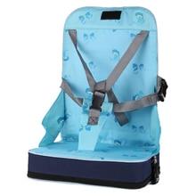 Mavi taşınabilir katlanır yemek sandalyesi koltuk 30*25*8cm (11.8x9.8x3.1 inç) bebek seyahat güçlendirici bagaj katlanır koltuk Highc