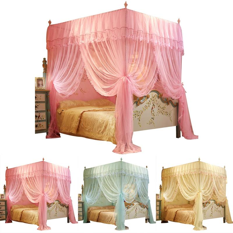 <font><b>150*200</b></font> mm 4 Posters Corners Bed Canopy Princess Queen Mosquito Bedding Net Bed Tent Floor-Length Curtain image