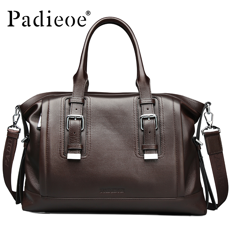 Padieoeo Brand Briefcase Men Shoulder Bags Genuine Leather Handbag Casual Messenger Bag Men's Business Cowhide Travel Laptop Bag padieoe men s genuine leather briefcase famous brand business cowhide leather men messenger bag casual handbags shoulder bags