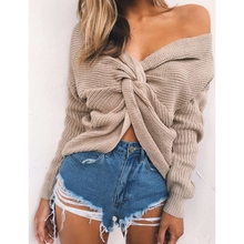 Retro 6 colors V Neck Twisted Back Sweater Women Jumpers Aut