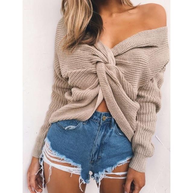 Wipalo 4 вида цветов V шеи витая Назад свитер Для женщин Джемперы Осенние Пуловеры Повседневное Топы с длинным рукавом Свитера вязаные Тянуть Роковой
