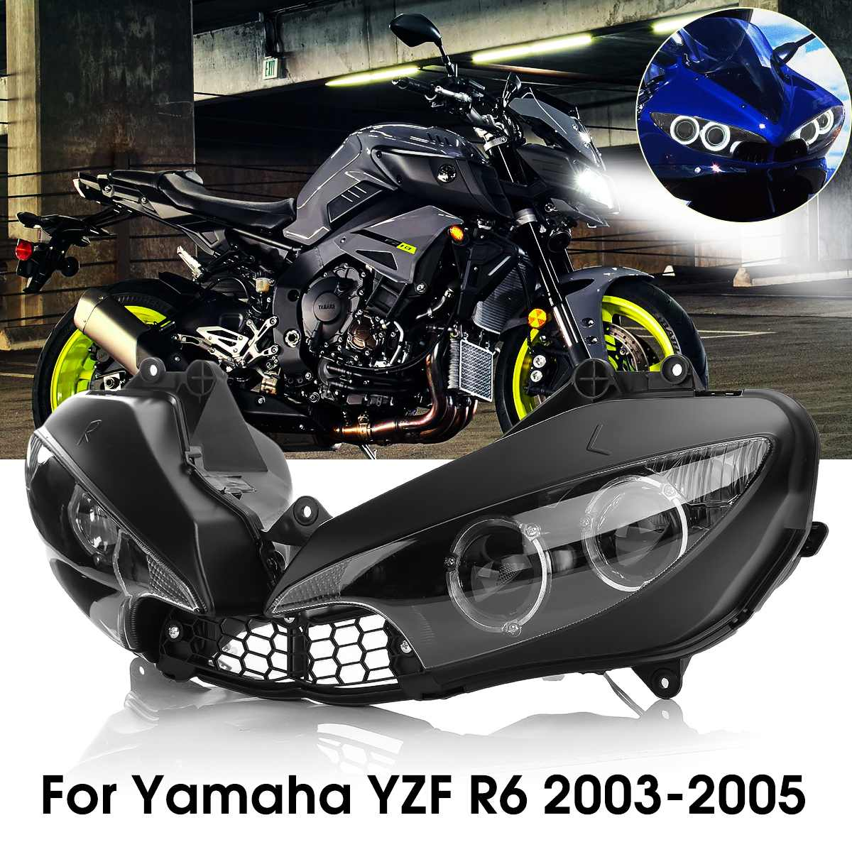 For 2003-2005 For Yamaha Yzfr6 Yzf R6 Yzf-R6 Motorcycle Front Headlight Head Light Lamp Headlamp Clear 2003 2004 2005 Styling