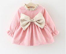 Autumn Winter Cute Dress Newborn Toddler Kids Baby Girl Cotton Bowknot  Princess Party Pink Purple Dress Clothes 3fd06adebe38