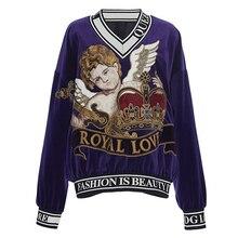 2020 冬の豪華な女性ブルーveletセータープルオーバー滑走路天使のベビー刺繍クリスマスジャンパー服かわいい