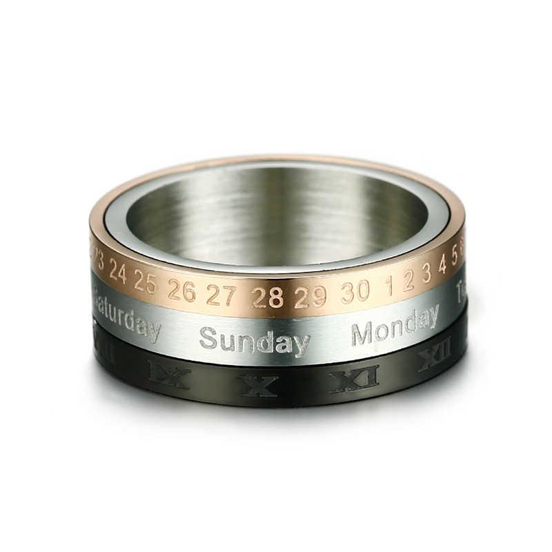 Vnox หมุนได้ 3 โรมันตัวเลขปฏิทินแหวนผู้ชายเครื่องประดับสแตนเลส Punk Cool SPINNER ชาย Bijoux ที่มีวันที่เวลา