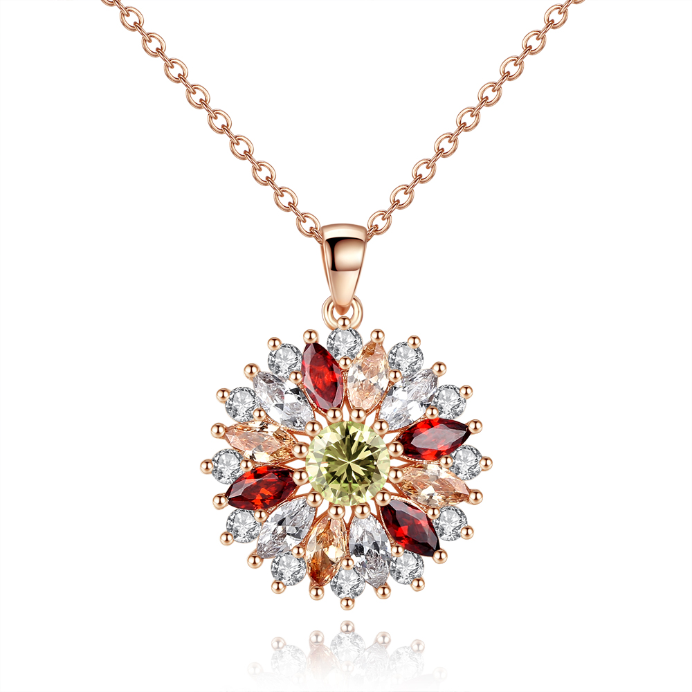 Fashion Ladies Necklace Inlaid With Multi-color Zirconluxury Ladies Sun Flower Necklace Retro Style Feminine Accessories