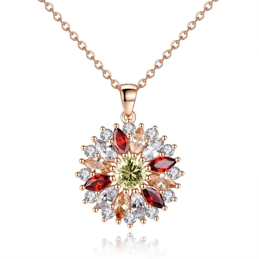 Fashion Ladies Necklace Inlaid With Multi-color Zirconluxury Ladies Sun Flower Necklace Retro Style Feminine Accessories