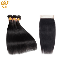 SSH Straight Brazilian Hair Weave Human Hair Bundles With Closure Hair Extension