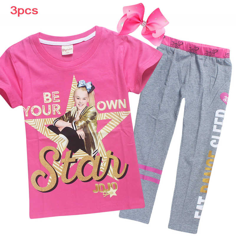 07359d436 2018New Summer JOJO SIWA Cotton Set T Shirts Pant for Girls Short Sleeve  Tshirt Suit for