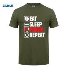 GILDAN 2018 New Fashion Brand 100% Cotton Clothing Print Round Neck Man Eat Sleep Poker T-Shirt Men t-shirt