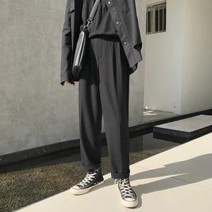 Image 2 - موضة الربيع 2019 النسخة اليابانية من سراويل الرياح المدرسية للرجال فضفاضة غير رسمية بلون بسيط Sweatpants