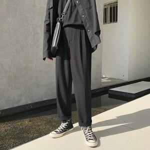 Image 2 - Pantalones de chándal sencillos para hombre, pantalón informal, holgado, Color sólido, versión japonesa, Tendencia de primavera, 2019