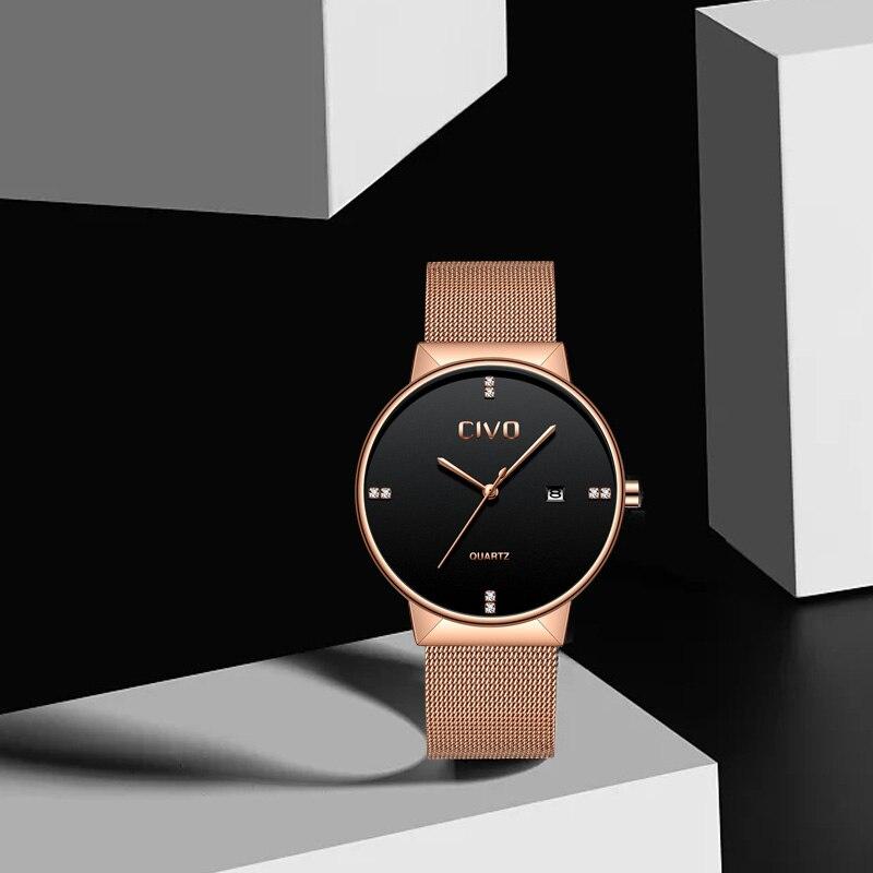 CIVO relojes de oro rosa para hombre, reloj de pulsera de cuarzo, resistente al agua, reloj de pulsera de malla de acero inoxidable para hombre - 5