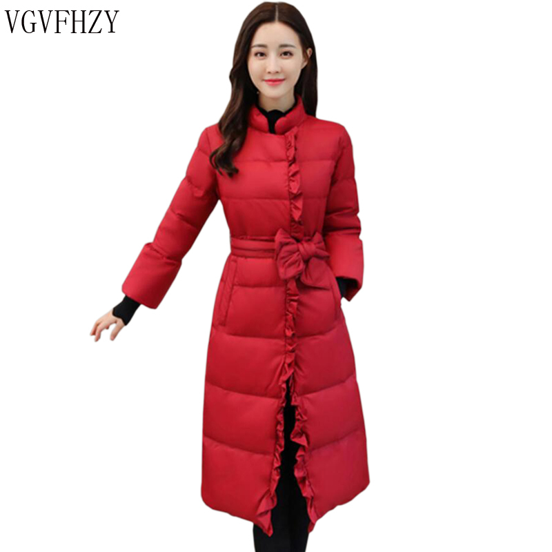 Women   Down   Parka 2018 Autumn Winter Jacket Women   Down     Coats   Female Outerwear Long Lady Clothing White Duck   Down   Red LY1119