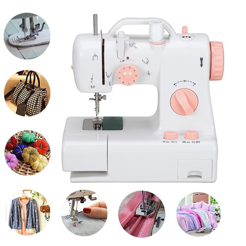 3Plug Mini 12 Stitches Sewing Machine Household Multifunction Double Thread And Speed Free Arm Crafting Mending