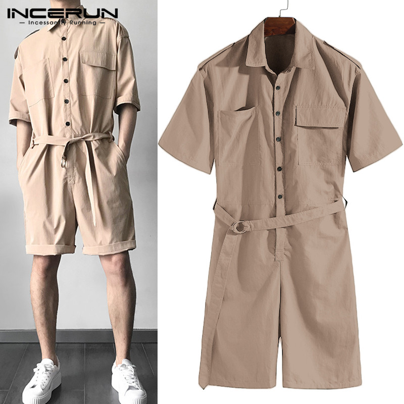 Brand Overalls One Piece Jumpsuit Cowboy Men Rompers Half Sleeve Casual Solid Belt Waist Men Cargo Set Shorts Coverall Playsuit