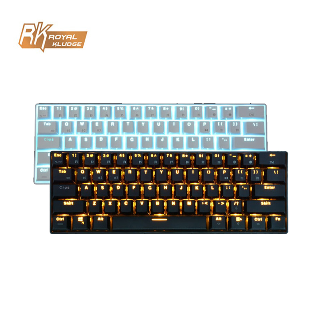 RK RK61 Wired Wireless Mechanical Gaming Keyboard 61 Key Bluetooth 3.0 Multi-Device Blue Switch LED Backlit Rechargeable Battery k61 61 key rgb bluetooth wired multi device mechanical keyboard brown switch