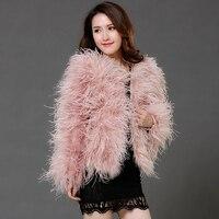 coat with fur real ostrich feather coat genuine fur coat short ladies plus size luxury bride wedding High quality jacket C191