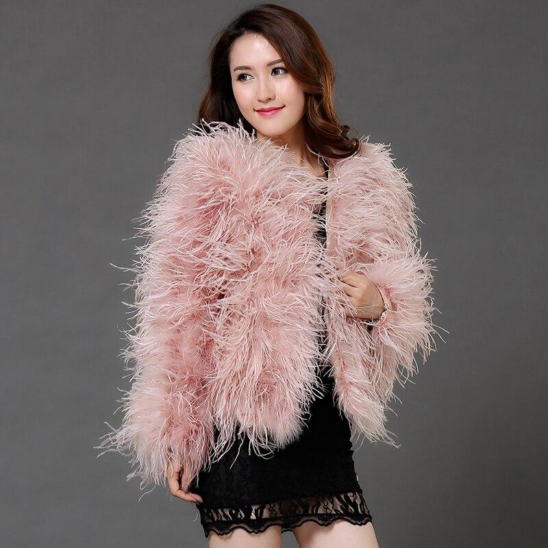 Manteau avec fourrure véritable autruche plume manteau véritable fourrure manteau court dames grande taille de luxe mariée de mariage de haute qualité veste C191