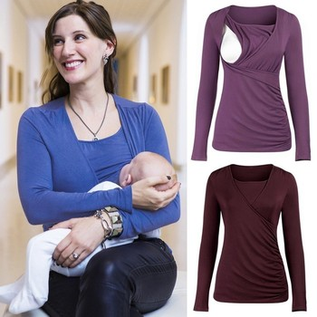 79be50475cb Camiseta de lactancia Otoño Invierno Tops de lactancia camisetas de  maternidad ropa de lactancia mujeres embarazadas ropa de premamá