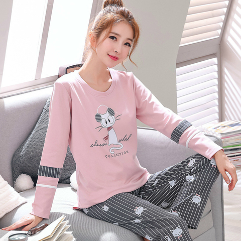 2019 Sleep Lounge Pajama Long Sleeve Top + Long Pant Woman Pajama Set Cartoon Pyjamas Cotton Sleepwear For Women M L XL XXL XXXL Karachi