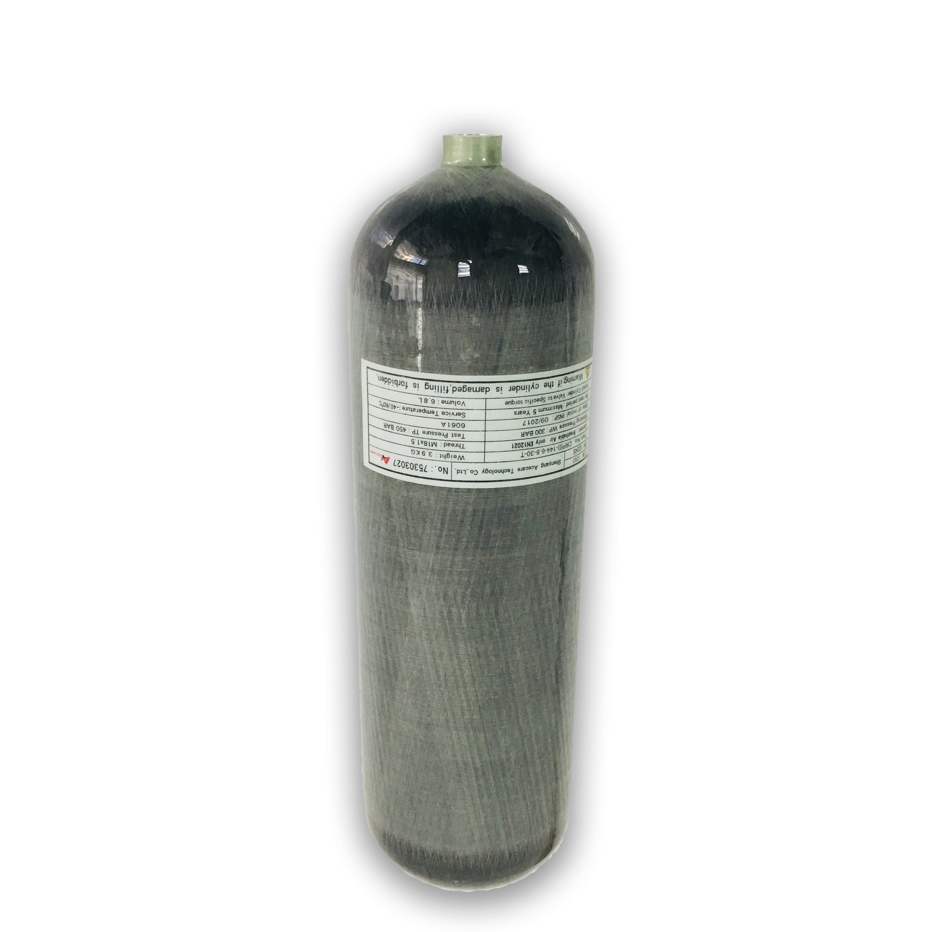 AC168 CE 6.8L Air Cylinder Compressed Air Bottle 4500PSI 30Mpa High Pressure SCBA Tank Diving Bottle 4500PSI Drop Shipping