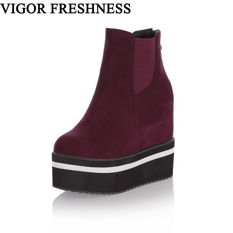 Autumn Shoes Increasing-Shoes Platform Ankle-Boots Height High-Heels Winter Woman Sizes