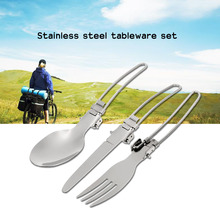 Stainless Steel Tableware Sets Portable Foldable Knife Fork Spoon Cutlery Cookware Abrasion-resistant Outdoor Camping Picnic