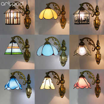 Artpad Modern Mediterranean Wall Lamp Led Colorful 12 Choice Beside Bedroom Vintage Indoor Wall Lamp With Iron Bracket Light - DISCOUNT ITEM  24% OFF All Category