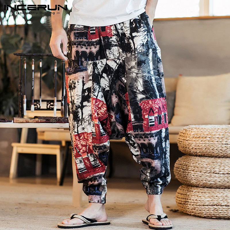 INCERUN Chinese Style Harem Pants Men Hiphop Baggy Wide Legs Harajuku Trousers Male Crotch Pantalon Hombre Cross-pants Joggers9