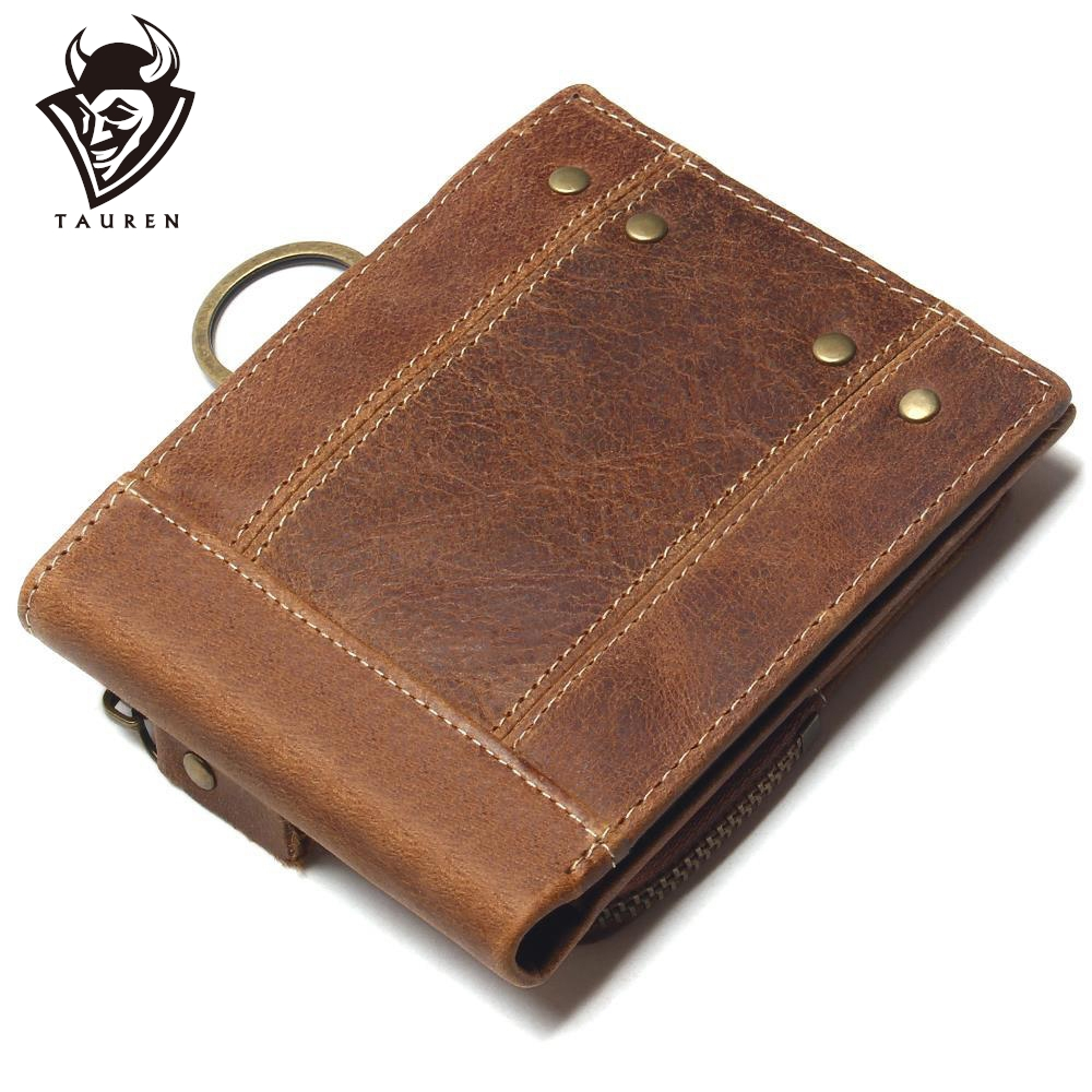 2019 Vintage Genuine Leather Men Wallets Removable Card ID Holders With Key Chain Short Bifold Male Organizer Walets Coin Bag