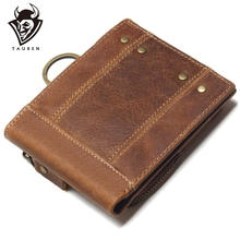 2020 Vintage Echtem Leder Männer Brieftaschen Abnehmbare Karte ID Halter Mit Schlüssel Kette Kurze Bifold Männlichen Organizer Walets Münze Tasche