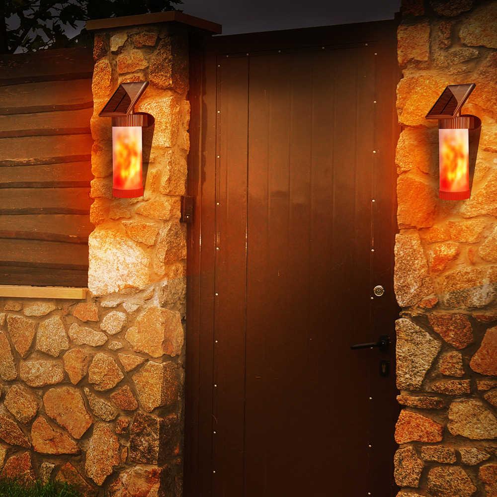 Солнечный светодиодный Панель солнечные фонари для сада человеческого тела Сенсор светодиодная наклейка Водонепроницаемый мерцающим пламенем лампа на солнечных батареях Путь Настенный светильник