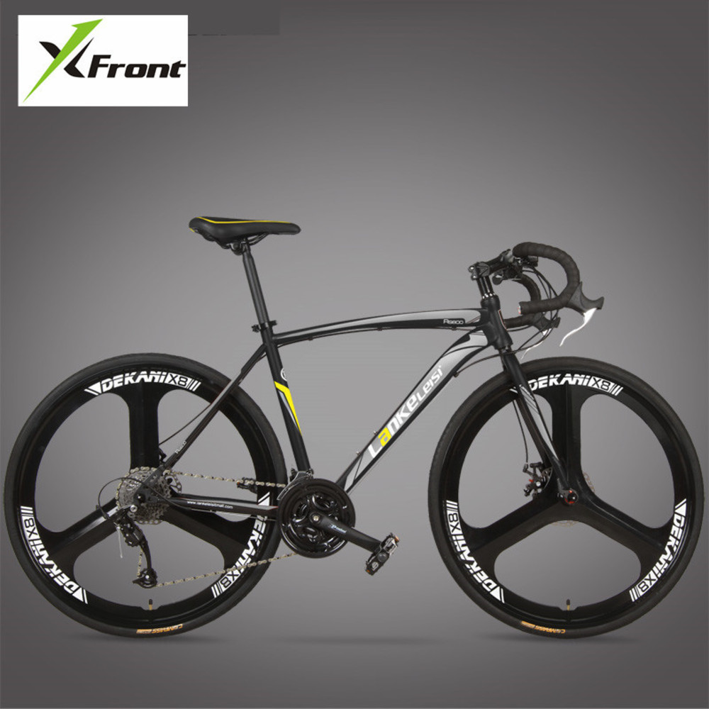 New Brand Road Bike Carbon Steel Frame 700cc Wheel 21 27 Speed Dual Disc Brake Bicicleta Outdoor Cycling Bicycle(China)