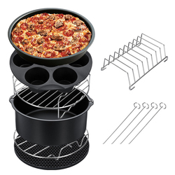 -High Quality Air Fryer Accessories 8 Inch for Gowise Phillips Cozyna and Secura, Set of 7 Baking Pizza Pan Fit all 5.2~5.8QT