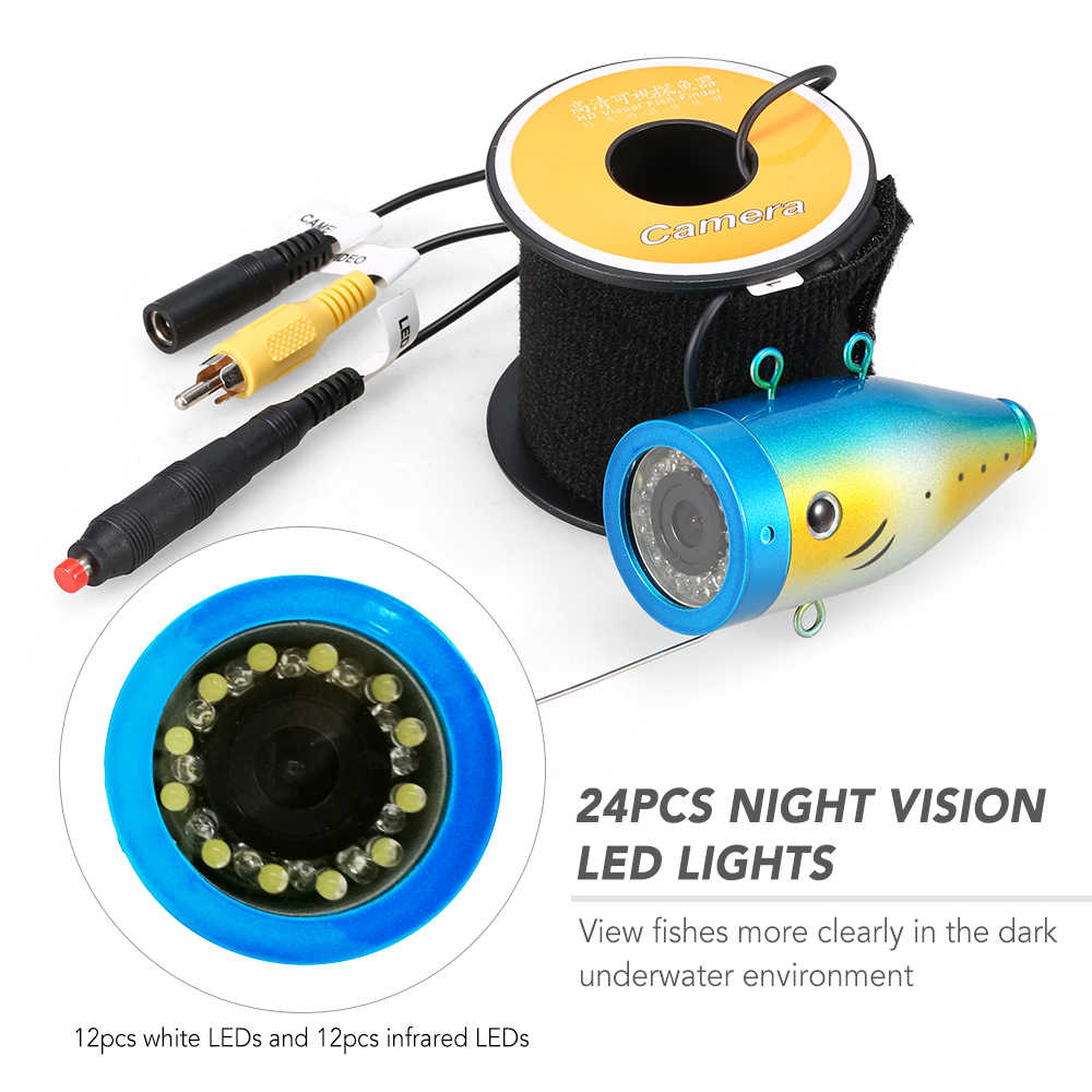 1200TVL Underwater Fishing Camera 24 LEDs Night Vision Waterproof Fish Shape Boat Ice Fishing Camera with 15m/30m/50m Cable